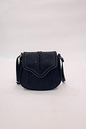 Mefly Fashion Schultertasche Handtasche Kreuz Gewebten Beutel Black