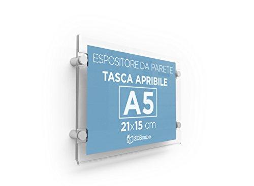Espositore in plexiglass da parete, targa a tasca apribile in plexiglass, porta avvisi e depliant formato a5 orizzontale 21×15 cm, completa di distanziali in alluminio