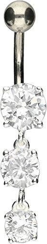 PIERCINGLINE Bauchnabelpiercing Titan | 3 Kristalle 925er Silber | Piercing Bananabell Banane | Farbenauswahl