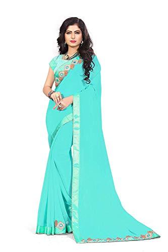 I-trendz Women's Georgette Embroidery Work Sari With Blouse Piece (Sky Blue_BCZS2955_Free Size)