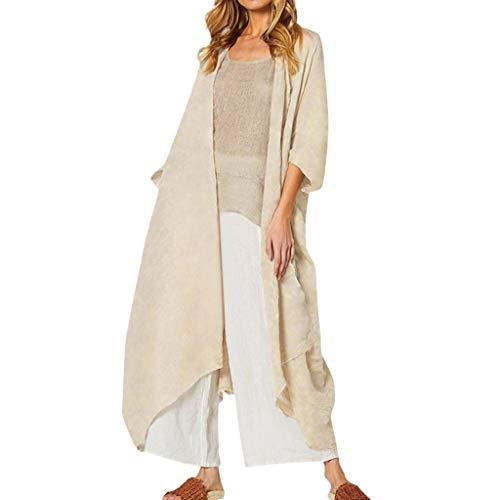 GOKOMO Frauen-Lange Hülsen-Normallack-Druckknopf unten Stricken gerippte Strickjacken Outwear(Beige,Large) -
