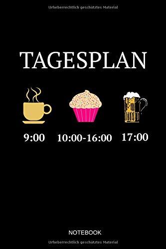 Tagesplan Notebook: Liniertes Notizbuch - Kaffee Backen Bier trinken Kuchen Cupcake Liebe Konditorei Bäcker Geschenk - Bäcker Kirsche
