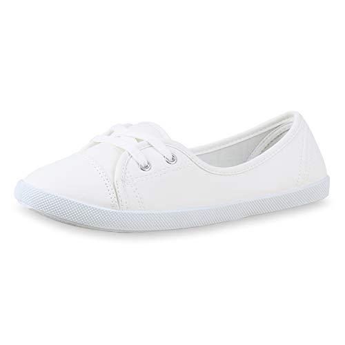 SCARPE VITA Sportliche Damen Ballerinas Bequeme Flats Basic 172751 Weiss White 38