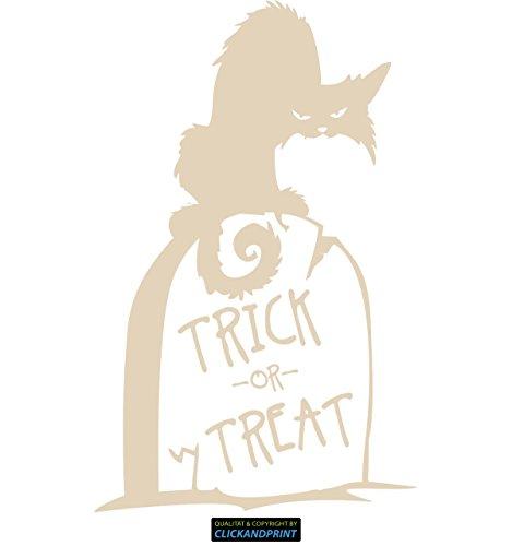 (CLICKANDPRINT  Aufkleber » Trick or Treat Katze, 180x113,6cm, Hellelfenbein • Dekoaufkleber/Autoaufkleber/Sticker/Decal/Vinyl)