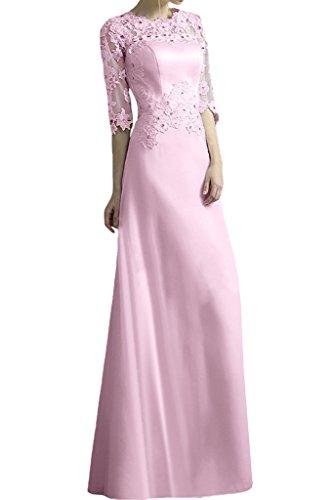 Promgirl House Damen 2015 Stilvoll Spitze A-Linie Lang Abendkleider Cocktail Ballkleider mit Aermel Rosa