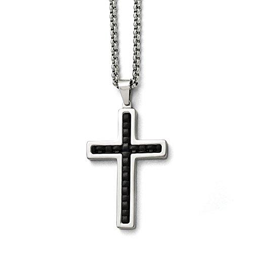 Collana Croce dell'intarsio acciaio inox lucido vera pelle nera