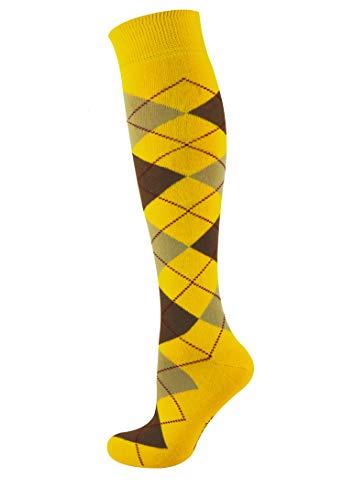MySocks Hommes Femmes Genou Haute Chaussettes Argyle Frêne brun jaune