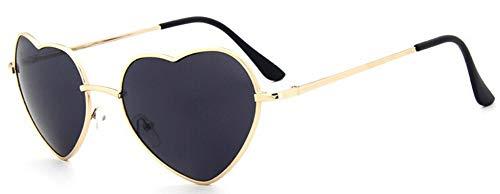 KONGYUER Sonnenbrillen, Brillen,Schwarze Damen-Herz-Geformte Sonnenbrille Metall Frauen Mode Randlose Brille Männer