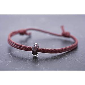 Armband Borosilikat Glasperle Vegan Unisex Segeltau Freundschaftsarmband Partnerarmband schwarz rot