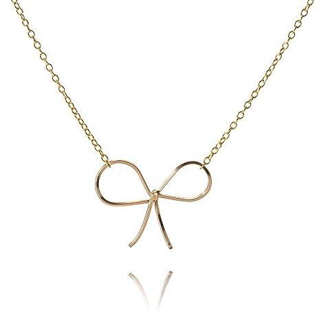 By Boe Damen Halskette Schleife Gold - Kette Schleifenanhänger 925er Silber 18 Karat Vergoldet - N128g-bow