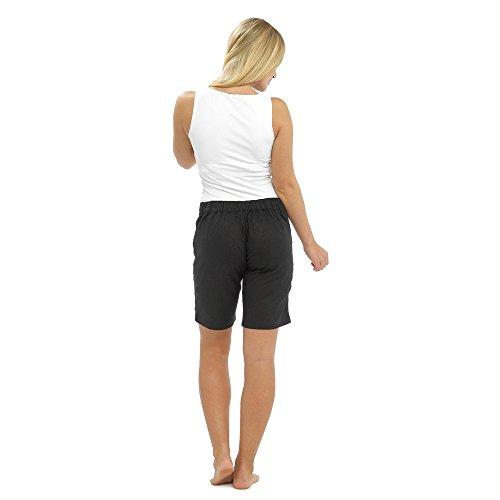Femme pour l'été lin Short avec cordon de serrage, poches & & tailles différentes couleurs Noir