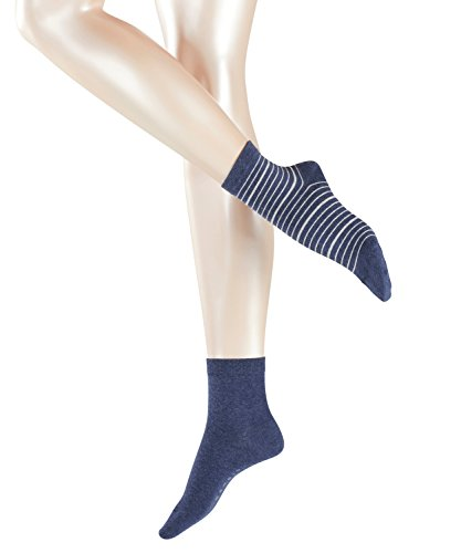 ESPRIT Damen Socken Stripe Mix, 2er Pack, Mehrfarbig (Navy Meliert 6127), 35/38