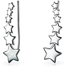 USA Patriot Shooting Star Ear escaladores Pin Wrap orugas pendientes para la Mujer para Teen 925