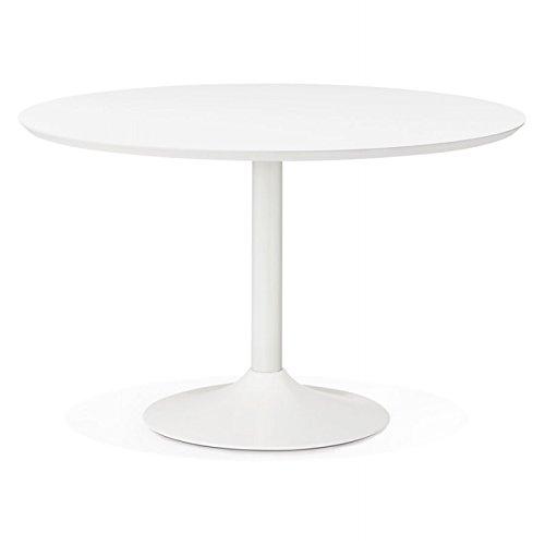 M.K.F. Table de Repas Ronde Design scandinave Galon en Bois et métal Peint (Ø 120 cm) (Blanc)