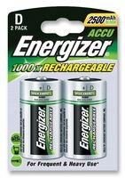 ENERGIZER 626149 Rechargeable Battery, Pack of 2, Nickel Metal Hydride, 2500 mAh, 1.2 V, D, 34.2 mm