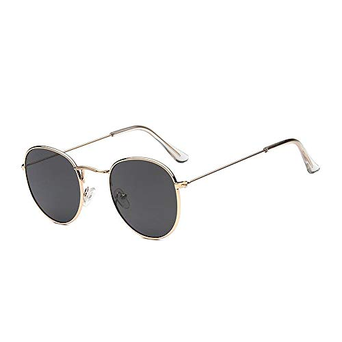 ProProCo™ Runde Ovale Sonnenbrille - Vintage Fashion Brille - Damen Herren Unisex Hippie Getönte Sonnenbrille - Vintage Fashion Brille - Retro Sunglasses Steampunk Brille mit Metallrahmen (Schwarz)