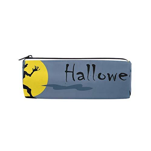 BENNIGIRY Halloween Wolf Howl zylindrische Federmäppchen Stifteetui, multifunktionales Schreibwaren-Etui mit Reißverschluss, Studenten-Reißverschluss, Bleistifthalter, Geschenk, Reise Make-up-Tasche