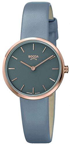 Boccia Damen Analog Quarz Uhr mit Leder Armband 3279-03