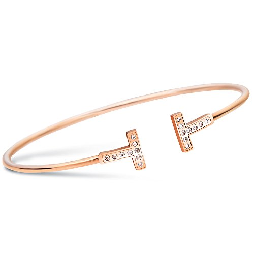 M.DARLY Schmuck verstellbar Armreif Rotgold ARMBAND_Micro Doppel-T ti Stahl Rose Gold open Armband, Rotgold