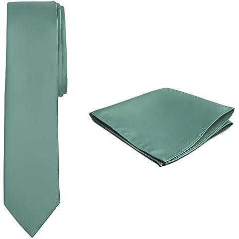 Jacob Alexander Color Sólido Hombre Skinny–Conjunto de Corbata y Pañuelo color verde