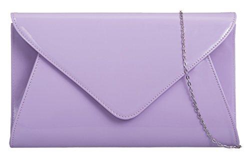 Girly HandBags Lack Kunstleder Umschlag Clutch Handtasche (Amethyst) (Amethyst Handtaschen)