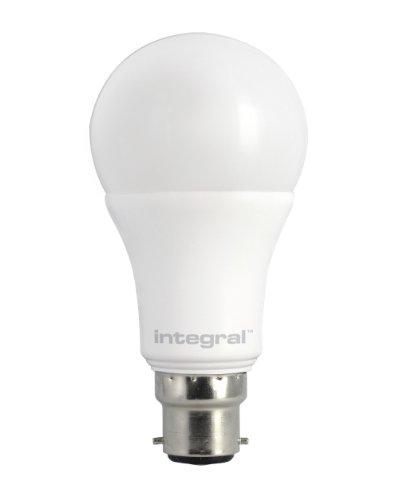 Integral LED ILA60B22O10D27KBIWA Ampoule LED B22 Classic Globe 8,5 W 2700 K 806 lm Dimmable Plastique/Polycarbonate/Nickel Brossé Blanc Chaud 12 x 6 cm