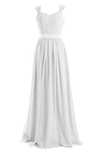 Royaldress Einfach Champagner Damen Spitze Chiffon Breit-traeger Abendkleider Partykleider Promkleider A-linie Rock Weiß
