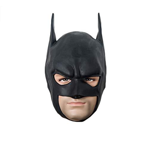 (GanSouy Cosplay Kopfbedeckung, Halloween Maskerade Batman Dark Knight Maske für Erwachsene - One Size, Schwarz,Batman-59cm~61cm)