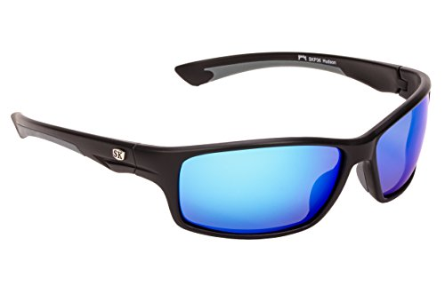Strike King Plus Hudson Polarisierte Sonnenbrille, Matte Black-Gray Frame/Blue Mirror Gray Base Lens (Strike Sonnenbrille King)