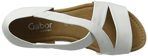 Gabor Shoes Comfort, Sandali con Zeppa Donna Bianco (weiss Jute)