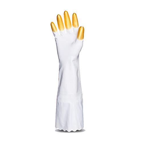 GJGJ Lange hai öl Geschirr Handschuhe weibliche hausarbeit waschen Kleidung küche Plus samt Dicke Wasserdichte strapazierfähiger Gummi winterhandschuhe (S/M/L) (Farbe : Gold, größe : S)