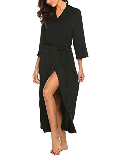 Skione Bademantel Morgenmantel Damen Nachthemd Jersey Robe Saunamantel Schwangere Frauen weich Nachtwäsche schlafmantel Pyjama Kimono