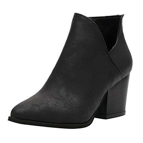 SOLELING Modern Leather Boot, Donne Vintage Chunky Alti Tacchi di Spessore Tacco Corto Stivaletto Caviglia Stivaletti Cerniera Scarpe Stivali Chelsea Donna