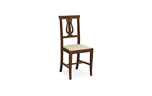Liberoshopping sedia in legno massello colore noce seduta tessuto imbottito ristorante casa