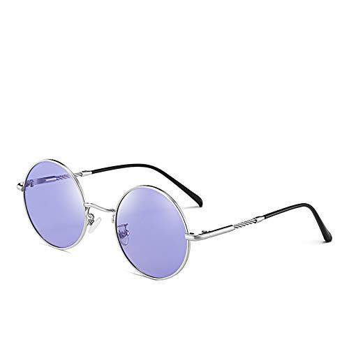 Delilya Farbwechsel Sonnenbrille Für Frauen Polarisierte Metall Beinspiegel Runde Rahmen Klassischen Vintage-Stil UV-Schutzbrille (Farbe: Rosa, Größe: Frei),Blue