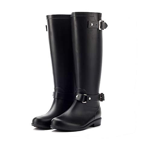 LILY999 Botas de Agua Mujer Lluvia Altas Zapato Impermeables Ajustable Cremallera y Hebilla Goma Botas Wellington(Negro 1,37 EU)