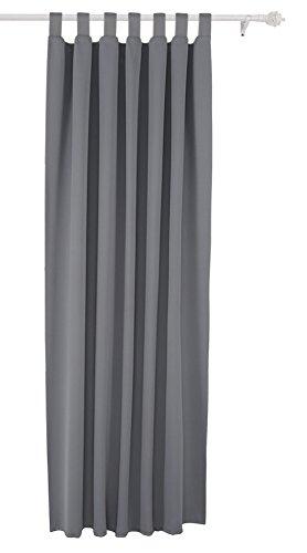 Deconovo Vorhang Blickdicht Schlaufen Verdunkelungsgardinen Gardinen Schlafzimmer 175x140 cm Hellgrau