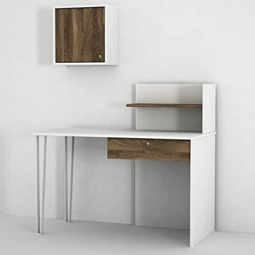 Alphamoebel 4845 Punto moderner Schreibtisch Kinderschreibtisch Arbeitstisch,Weiß Walnuss, Holz,...
