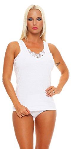 12 Stück feine Damen-Unterhemden mit breitem Träger weiss mit feiner Spitze, 100% gekämmte Baumwolle Größe 56-58 (Spitze Baumwolle-feine)