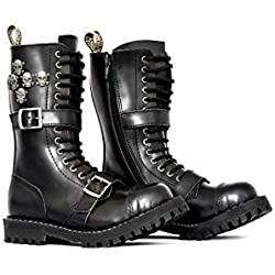 STEEL Militares botines Unisex hombre mujer cuero negro 15 ojetes dobles hebillas army punk gótico punta de acero