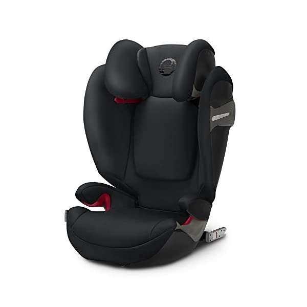 CYBEX Gold Solution S-Fix Child's Car Seat, For Cars with and without ISOFIX, Group 2/3 (15-36 kg), From approx. 3 to approx. 12 years, Lavastone Black  Group 2/3 high back booster seat. suitable from 15 - 36kg. designed to be used until a maximum height of 150cm, approximately 12 years. 3-position optimized reclining headrest prevents the child's head from tipping forwards, and integrated ventilation system keeps them cool. The integrated lisp. system offers increased safety in the event of a side-impact collision by reducing the forces by approximately 25%. 1