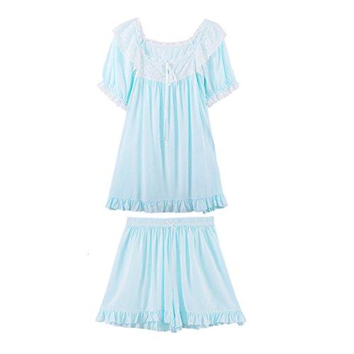 Zhhlinyuan Two pieces Breathable Nightwear Womens Short sleeves Pyjama Set Sleepwear Blue