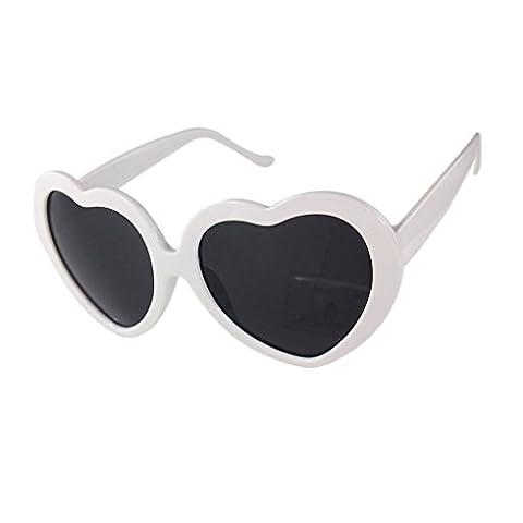 LUFA L'amour en forme de coeur mignon design Lunettes de soleil unisexe blanc