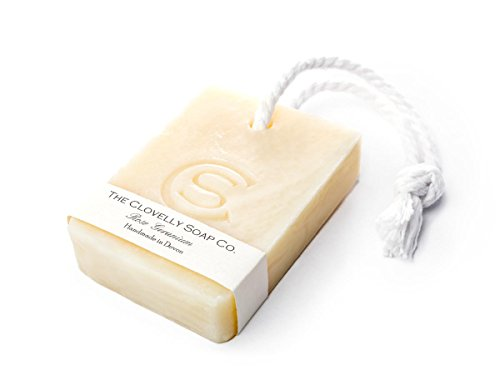Clovelly Soap Co Natural Handmade Rose Geranium Soap on a Rope Bar For All Skin Types 100g