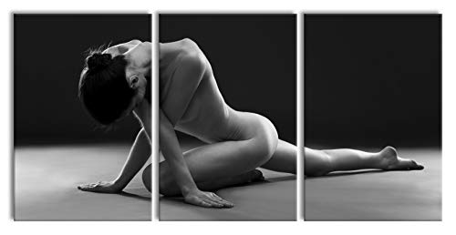 Pixxprint Belle Femme Sexy Faire du Yoga, Peinture sur Toile XXL surdimensionnée 240x120m Total 3 pièces/Peinture Murale/tirage d'art