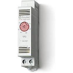 Finder 7T8100002403PAS - Termostato de panel 1 contacto 10 A NC montaje en carril de 35 mm84 x 18 x 47 cm color gris