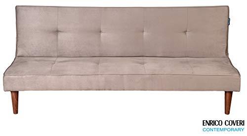 Enrico Coveri Contemporary Divano Letto 3 posti Elegante con Funzione Letto in Tessuto micorfibra, Dimensioni: 175 x 70 x 71 cm (Grigio)