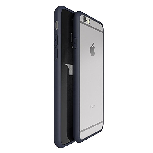 OnPrim Superior Ultra Thin Slim Fit Clear Frame Hybrid Flexbile TPU Case With Tempered Glass Film For iPhone 6 6s 4.7 Inth Navy Blue
