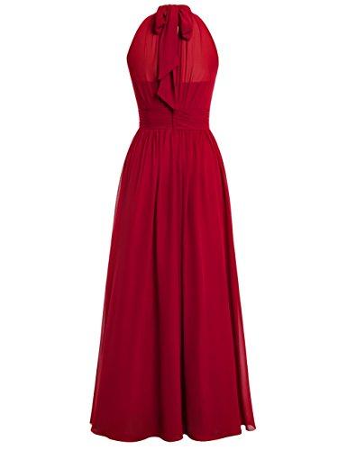 Dresstells, Robe de soirée Robe de cérémonie mousseline longueur ras du sol avec ouverture latérale Bordeaux
