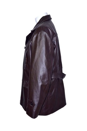 Smart Range - Kriegsmarine Allemand Ww2 Uboat Reefer Véritable Hide Cuir Veste Manteau - Homme Marron